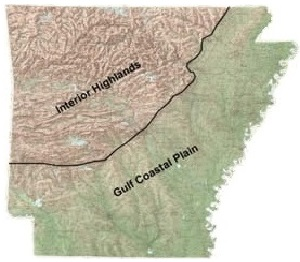 Physiographic Division Map of Arkansas