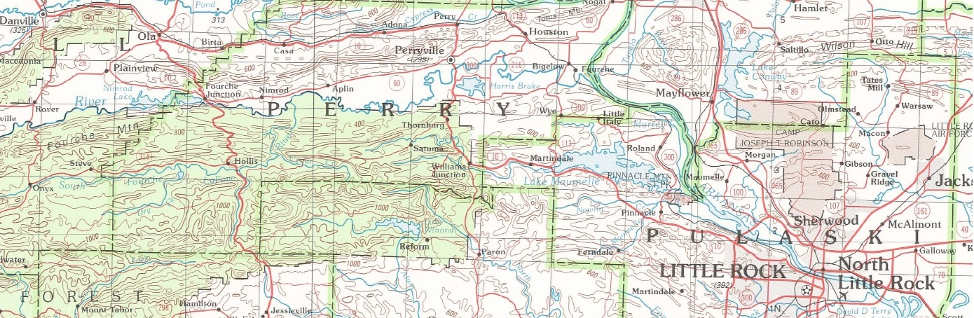 500k scale - Topographic Map of Arkansas
